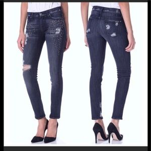 7 for all mankind studded The Slim Cigarette Jeans